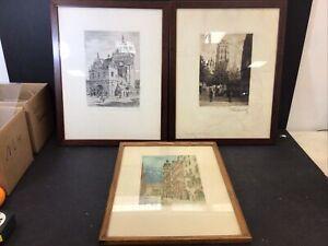 3 European Signed ETCHING Engravings Prints Framed
