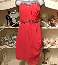 Jane Norman Wrap Around Style Dress Coral Colour Bandeau Mini Dress UK 12