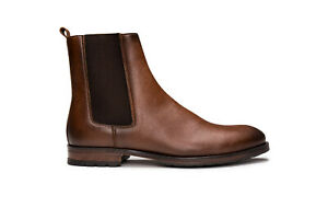 Vegan boot ankle chelsea stylish breathable lined with flexible pull-on in brown