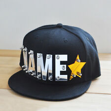 Personalized Hat, Custom Name hat, Acrylic name cut out, Black Hats Caps