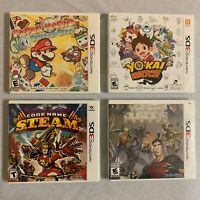 Nintendo 3DS Games Lot of 4 Paper Mario Young Justice Yo-Kai Watch And Code Name