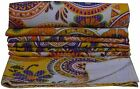 TWIN FLORAL WHITE KANTHA QUILT BEDSPREAD BLANKET THROW Vintage Reversible Gudari