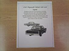 1967 Plymouth Valiant factory cost/dealer sticker prices for car & options $