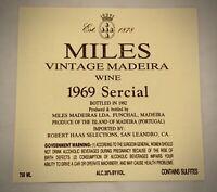 Wine Label: MILES VINTAGE MADEIRA - 1969 SERCIAL
