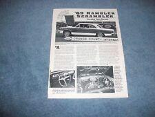 1969 AMC Rambler Hurst Scrambler SC/Rambler Vintage Info Article