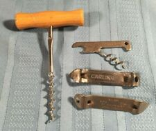 Lot of 4 Vintage Wood Handle Wine Bottle Corkscrew Openers and Metal