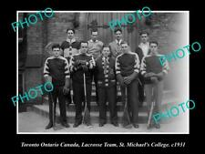 New listing Old Large Historic Photo Of Toronto Canada, St Michaels Lacrosse Team 1931