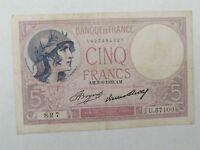 1933 Bank of France 5 Francs Bank Note  *SHIPS FREE!!!