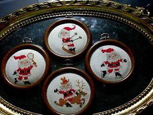 CHRISTMAS GIFT 4 VINTAGE Framed Needlepoint Crewel Santa Reindeer Skiing Skating