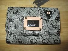 NEW Guess WALLET CLUTCH ID VEGAN Ladies Faux Leather Black Tan Flower
