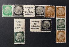 """GERMANY,GERMANIA D.REICH Zusammendruck 1933 """"HINDENBURG"""" 4 Valori MH*"""