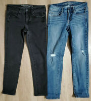 American Eagle Womens Jeans Size 2 Short Skinny Lot of 2 Stretch Blue Black