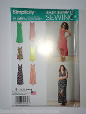 Simplicity Pattern S0569A Misses' Knit Dresses Length Neckline VariationsXXS-XXL