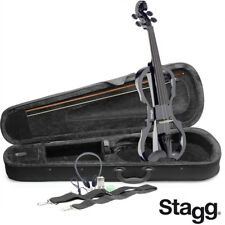 NEW Stagg EVN X 4/4/MBK Black Electric Violin Package W/Case, Headphones & MORE
