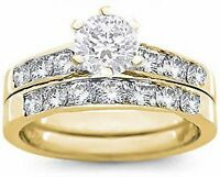 18K GOLD EP 2CT DIAMOND SIMULATED ENGAGEMENT SET RING size 5-10 you choose