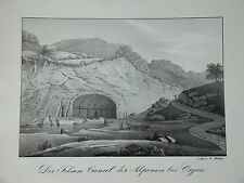 RARE Litho Vue CANAL ORGON PROVENCE BATEAU BOUCHE du RHONE ARLES 1830
