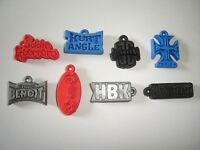 WWF WRESTLING 3D TAGS LOGOS EMBLEMS PENDANTS SET FIGURES COLLECTIBLES MINIATURES