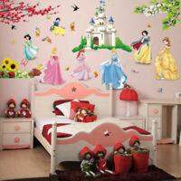 Seven Princess & Dwarf Beautiful Castle Fairy Tale kids girl Room wall stickers
