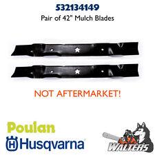"""(2) Genuine Husqvarna 532134149 Blades for 42"""" Mulch Deck (NOT AFTERMARKET)"""
