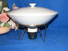 PORCELAIN COVERED 1 QUART  CASSEROLE DISH ON BRASS RACK W  PORCELAIN CANDLE CUP