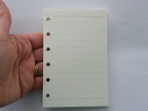 60 Sheets off white lined paper file folder spiral binder refill 6 holes Size A7