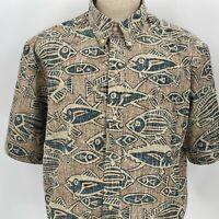 NWOT Reyn Spooner Triggerfish Reverse Print Hawaiian Shirt Size XL Aloha Fish