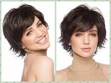Curly Charm Women's Dark Brown Wigs Fashion Full Wig Short Natural Hair Classic