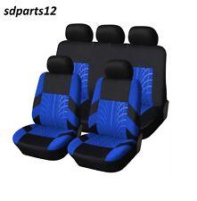 Renault Captur Scenic Megane Clio Housses Couvre Sieges Fabric 9 Pcs Bleu-Noir