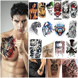 LARGE Temporary Removable Fake Tattoos Sleeve Real Womens Mens Sticker Transfer