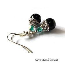 Ohrringe mit GRÜNFLUSS-Perlen, Silber-Vintage-Look, Ohrhänger, 0212