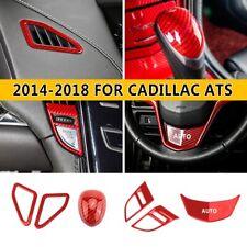 For Cadillac ATS 2014-2018 ABS Carbon Fiber Vehicle Interior Kit trim Red 6pcs