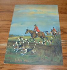 "Vintage 1930's English Fox & Hounds Hunting Print 16 x12 ""A Merry Chase"""