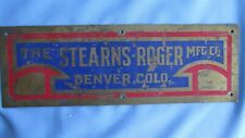 Brass Stearns-Roger Manufacturing Company Denver Colo. Mining Equipment Tag