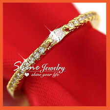 18K YELLOW GOLD GF LADY KID CRYSTAL MARQUISE THIN BAND TOE ETERNITY WEDDING RING