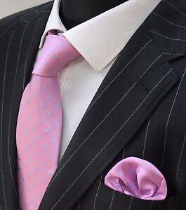 Men's Tie & Handkerchief Set Pink with Blue Spot LUC165