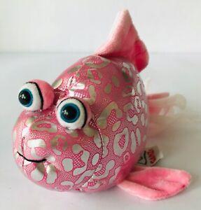 "Ganz Plush Fish Lil'Kinz Pink Glitter Soft Fuzzy Webkinz but No Tag or Code 8.5"""
