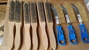 6 x WIRE BRUSHES 4 Row Steel Bristles + 3 Brass Wire Brushes BARGAIN FROM STOCK