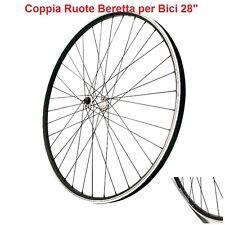 """Coppia Ruote 28"""" Beretta Alluminio Nero a Filetto-Sgancio per Bici Corsa Vintage"""