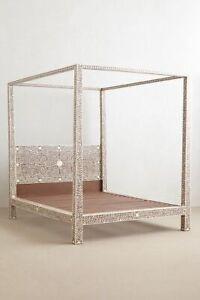 Handmade Bone Inlay King Size Bed