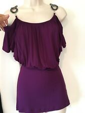 Gorgeous Off the shoulders beaded glitter top. Purple