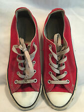 Awesome Pre-owned Red/White Canvas Converse ALL STAR Shoes Size Youth's 3
