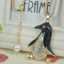 New Penguin Sweater Bead Long Necklace Rhinestone Crystal Pendant Christmas Gift