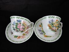 Duchess Floral Garden Flower Bouquet China Footed Tea Coffee Cup Saucer Set of 2
