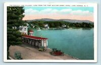 Lake George, NY - RARE c1920s VIEW OF VILLAGE & CARS FROM HENRY HOTEL - POSTCARD