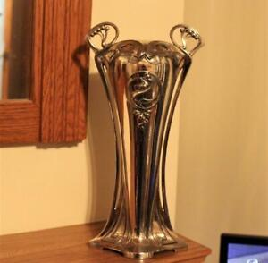 """Highly Collectable Large WMF Art Nouveau Silver Plate Vase Number 332   12.5 """""""