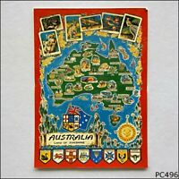 Australia Land Of Sunshine Tourist Map Postcard (P496)