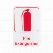 "Fire Extinguisher Sign - White and Red, 9 x 6"" Fire Exit / Fire Safety Signs"
