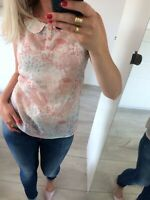 🌸 F&F Uk6 Uk8 S Vest Top Blouse T-Shirt Womens Sun Loose White Floral Pink