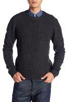 Original Penguin Men's Fisherman's Cable Crew Sweater Wool Charcoal Grey Large