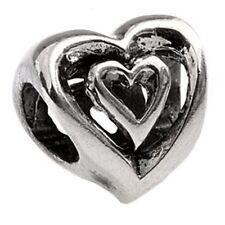 Authentic SilveRado Double Heart European Pan Dora Charm Bead